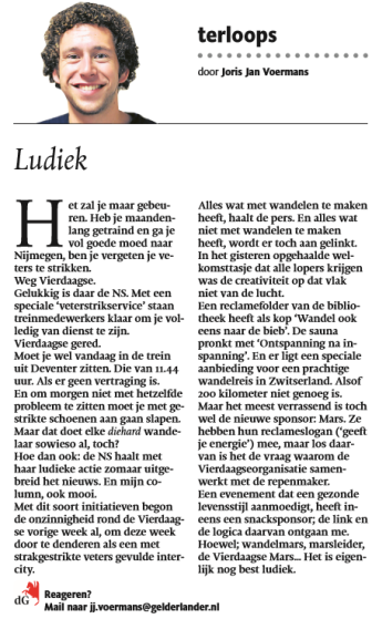 Column Vierdaagse Gelderlander